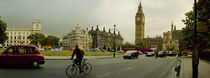 Traffic in front of a clock tower, Big Ben, City of Westminster, London, England by Panoramic Images