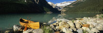 Canoe at the lakeside, Lake Louise, Banff National Park, Alberta, Canada by Panoramic Images