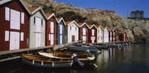 Boats moored at the dock, Smogen, Sotenas Municipality, Bohuslan, Sweden by Panoramic Images