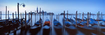 Row of gondolas moored near a jetty, Venice, Italy by Panoramic Images