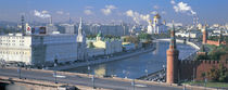 Buildings at the waterfront, Moskva River, Moscow, Russia by Panoramic Images