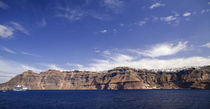 Cruise ship in the sea, Nea Kameni, Fira, Santorini, Cyclades Islands, Greece by Panoramic Images