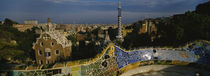 High angle view of a city, Parc Guell, Barcelona, Catalonia, Spain von Panoramic Images