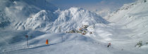 Rear view of a person skiing in snow, St. Christoph, Austria by Panoramic Images