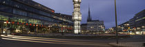Buildings in a city lit up at dusk, Sergels Torg, Stockholm, Sweden von Panoramic Images