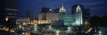 Temple lit up at night, Mormon Temple, Salt Lake City, Utah, USA by Panoramic Images