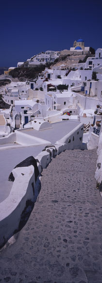 High angle view of a walkway in a town, Oia, Santorini, Greece by Panoramic Images