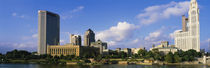 Buildings on the banks of a river, Scioto River, Columbus, Ohio, USA by Panoramic Images