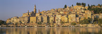 Buildings On The Waterfront, Eglise St-Michel, Menton, France von Panoramic Images