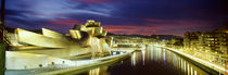 Buildings lit up at dusk, Guggenheim Museum Bilbao, Bilbao, Vizcaya, Spain by Panoramic Images