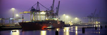 Port, Night, Illuminated, Hamburg, Germany by Panoramic Images