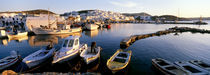 Boats at the dock in the sea, Paros, Cyclades Islands, Greece by Panoramic Images