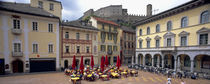 High angle view of a sidewalk cafe, Town Center, Bellinzona, Ticino, Switzerland von Panoramic Images