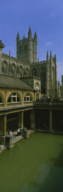 High angle view of a roman bath in an abbey, Bath Abbey, Bath, England by Panoramic Images