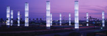 Light sculptures lit up at night, LAX Airport, Los Angeles, California, USA by Panoramic Images