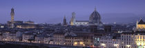High angle view of a city at dusk, Florence, Tuscany, Italy by Panoramic Images