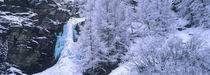 High angle view of a frozen waterfall, Valais Canton, Switzerland von Panoramic Images