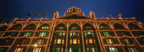 Low angle view of a building lit up at night, Harrods, London, England by Panoramic Images