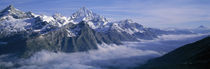 Aerial View Of Clouds Over Mountains, Swiss Alps, Switzerland von Panoramic Images