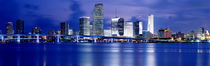 Panoramic View Of An Urban Skyline At Night, Miami, Florida, USA von Panoramic Images