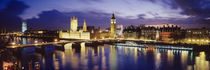 Buildings lit up at dusk, Big Ben, Houses Of Parliament, London, England von Panoramic Images