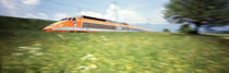 TGV High-Speed Train Moving Through Hills, Blurred Motion von Panoramic Images