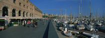 Pedestrian walkway along a harbor, Barcelona, Catalonia, Spain von Panoramic Images
