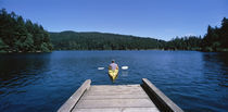 Rear view of a man on a kayak in a river, Orcas Island, Washington State, USA von Panoramic Images