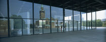 Reflection of a church on a glass wall, National Gallery, Berlin, Germany von Panoramic Images