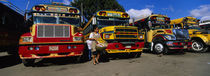 Buses Parked In A Row At A Bus Station, Antigua, Guatemala by Panoramic Images