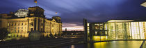 Buildings lit up at night, The Reichstag, Spree River, Berlin, Germany by Panoramic Images