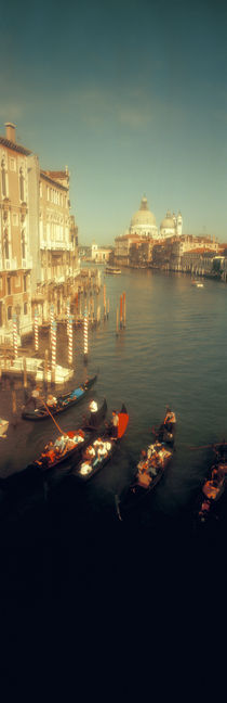 High angle view of gondolas in a canal, Grand Canal, Venice, Italy von Panoramic Images