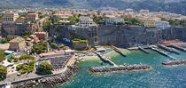 Aerial view of a town, Sorrento, Marina Piccola, Naples, Campania, Italy by Panoramic Images