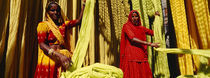 Portrait of two mature women working in a textile industry, Rajasthan, India von Panoramic Images