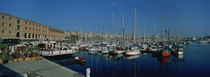 Sailboats at a harbor, Barcelona, Catalonia, Spain von Panoramic Images