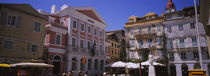 Tourist in front of buildings, Paper Money Museum, Corfu, Greece von Panoramic Images