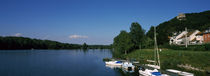 Boats moored at the lakeside, Greifenstein, Lower Austria, Austria von Panoramic Images