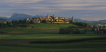 Houses on a hill, Romont, Switzerland by Panoramic Images