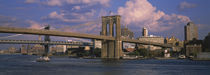 Boat in a river, Brooklyn Bridge, East River, New York City, New York State, USA by Panoramic Images
