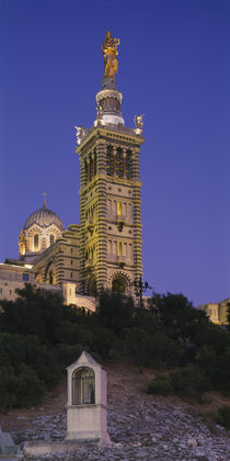 Low angle view of a tower of a church, Notre Dame De La Garde, Marseille, France von Panoramic Images