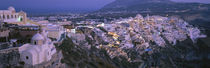 Buildings, Houses, Night, Fira, Santorini Greece von Panoramic Images