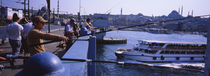Side profile of fishermen fishing in a river, Galata Bridge, Istanbul, Turkey von Panoramic Images