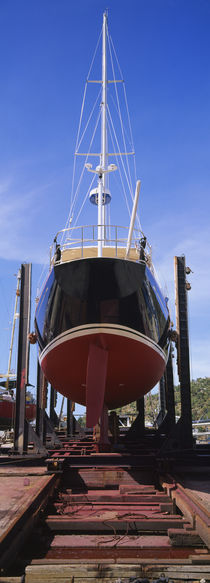 Low angle view of a sailing ship at a shipyard, Antigua von Panoramic Images