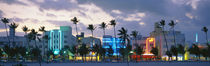 Buildings Lit Up At Dusk, Ocean Drive, Miami Beach, Florida, USA by Panoramic Images