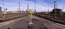 Signpost at a railroad station, Stuttgart, Baden-Wurttemberg, Germany by Panoramic Images