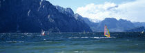 Windsurfing on a lake, Lake Garda, Italy by Panoramic Images