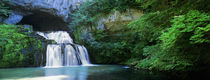 Waterfall in a forest, Lison River, Jura, France von Panoramic Images