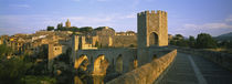 Footbridge across a river in front of a city, Besalu, Catalonia, Spain by Panoramic Images