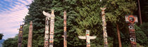 Totem poles in a park, Stanley Park, Vancouver, British Columbia, Canada by Panoramic Images