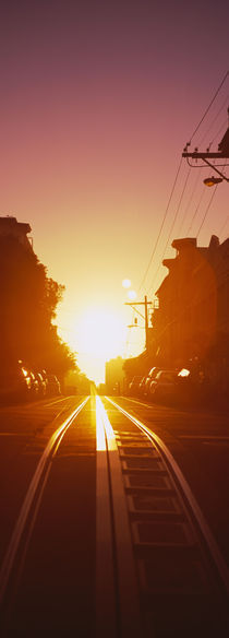 Cable car tracks at sunset, San Francisco, California, USA by Panoramic Images
